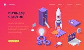 Website landing page, promotion poster, flyer or brochure concept for business startup technologies, isometric vector illustration