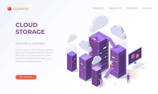 Landing page for cloud data storage