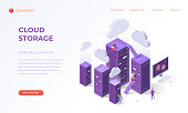 Website landing page, promotion poster, flyer or brochure concept for cloud data storage, isometric vector illustration