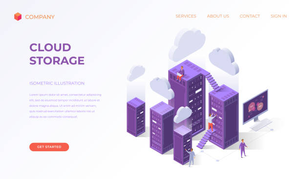 landing page for cloud data storage - computer server room stock illustrations