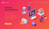 Website landing page, promotion poster, flyer or brochure concept for financial digital accounting, isometric vector illustration