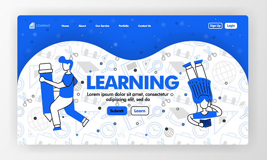 Landing page for learning and education in line style and cartoon flat illustration. Girl read and holding pencil with stationary background pattern. Can for Website, UI UX, Web, Mobile App, Poster