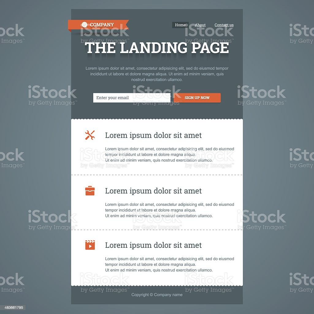 Landing page in flat style. vector art illustration