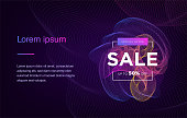 Landing Page. Mock up website. Home Page. Web banner templates. Social media, business app, seo and marketing. Autumn Sale. Big Sale. Neon sign style. Vector illustration.