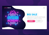 Landing Page. Mock up website. Home Page. Web banner templates. Social media, app. Theme Cyber Monday. Big Sale. Neon sign style. Vector illustration