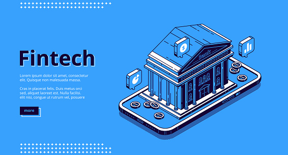 Fintech banner. Financial technologies, digital solutions for banking business. Vector landing page of software and mobile application for finance services with isometric illustration of bank building