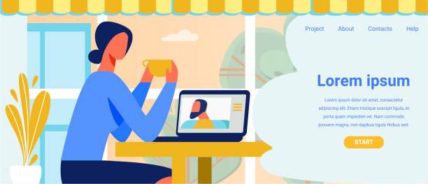 illustrazioni stock, clip art, cartoni animati e icone di tendenza di landing page offering application for video call - video call