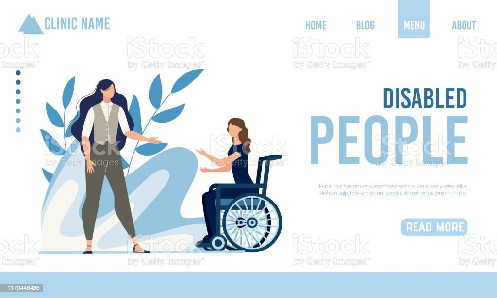 Landing Page Offering Help for Disabled People - Royalty-free Adulto arte vetorial