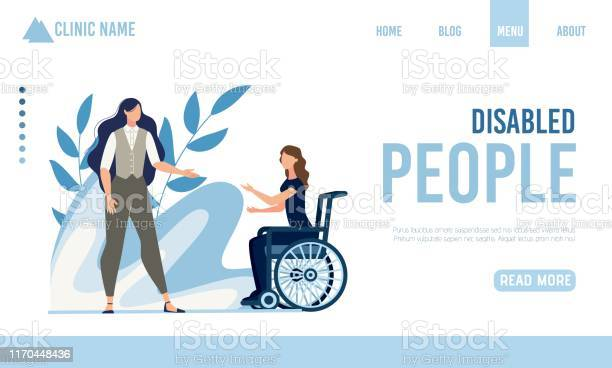 Landing Page Offering Help For Disabled People - Arte vetorial de stock e mais imagens de Adulto