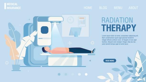 ilustraciones, imágenes clip art, dibujos animados e iconos de stock de página de aterrizaje que ofrece servicio de radioterapia - oncología