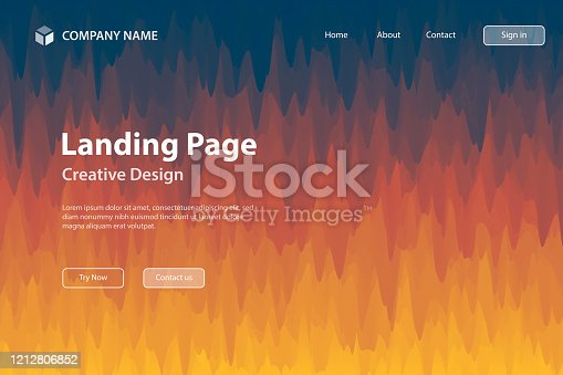 Landing page Template - Abstract background with trendy texture - Orange gradient