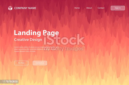 Landing page template for your website with a modern and trendy abstract background. This template can be used for your design, with space for your text (colors used: Yellow, Beige, Orange, Red, Brown, Pink, Purple). Vector Illustration (EPS10, well layered and grouped), wide format (3:2). Easy to edit, manipulate, resize or colorize.