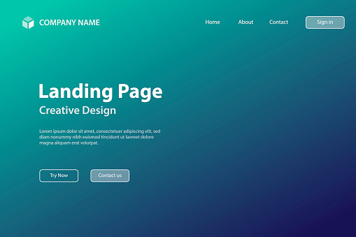 Landing page Template - Abstract blurred background - defocused Green gradient