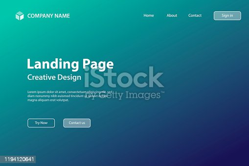 Landing page template for your website. Modern and trendy abstract background with a defocused and blurred gradient, can be used for your design, with space for your text (colors used: Green, Blue, Black). Vector Illustration (EPS10, well layered and grouped), wide format (3:2). Easy to edit, manipulate, resize or colorize.