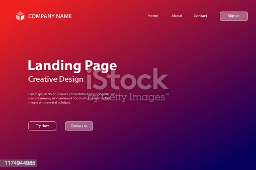 Landing page Template - Abstract blurred background - defocused Red gradient