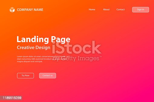 Landing page template for your website. Modern and trendy abstract background with a defocused and blurred gradient, can be used for your design, with space for your text (colors used: Orange, Red, Pink, Purple). Vector Illustration (EPS10, well layered and grouped), wide format (3:2). Easy to edit, manipulate, resize or colorize.