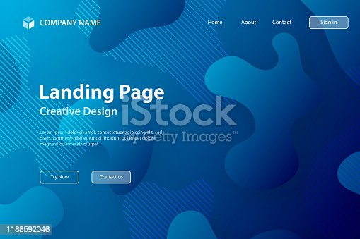877787978istockphoto Landing page Template - Abstract design with fluid shapes on Blue gradient background 1188592046