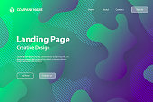 Landing page template for your website with a modern and trendy background. Abstract design with fluid, liquid, 3d and gradient color shapes. This template can be used for your design, with space for your text (colors used: Green, Blue, Purple). Vector Illustration (EPS10, well layered and grouped), wide format (3:2). Easy to edit, manipulate, resize or colorize.