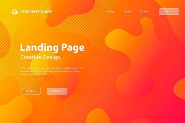 ilustrações de stock, clip art, desenhos animados e ícones de landing page template - abstract design with fluid shapes on orange gradient background - vr red background