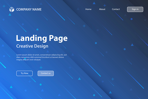 Landing page Template - Abstract design with geometric shapes - Trendy Blue Gradient