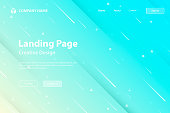 Landing page template for your website with a futuristic background, looking like a meteor shower. Modern and trendy abstract background with geometric shapes. This illustration can be used for your design, with space for your text (colors used: White, Yellow, Beige, Turquoise, Green, Blue). Vector Illustration (EPS10, well layered and grouped), wide format (3:2). Easy to edit, manipulate, resize or colorize.