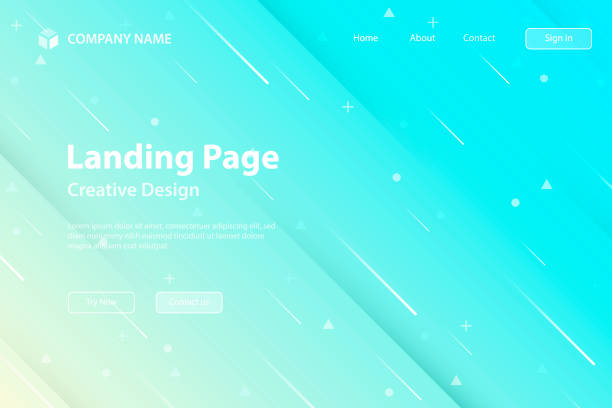 Landing page Template - Abstract design with geometric shapes - Trendy Blue Gradient vector art illustration