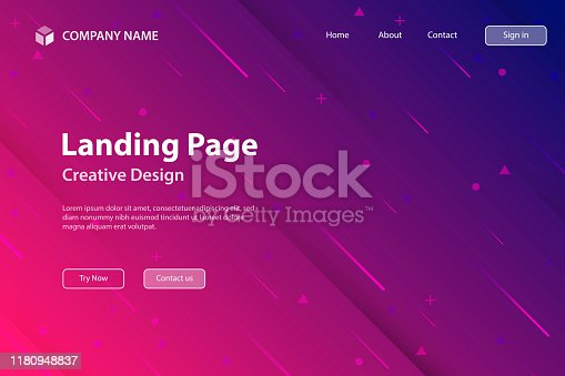Landing page template for your website with a futuristic background, looking like a meteor shower. Modern and trendy abstract background with geometric shapes. This illustration can be used for your design, with space for your text (colors used: Red, Pink, Purple, Blue). Vector Illustration (EPS10, well layered and grouped), wide format (3:2). Easy to edit, manipulate, resize or colorize.