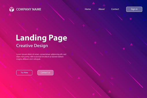 Landing Page Vorlage Abstraktes Design Mit Geometrischen Formen Trendy Pink Gradient Stock Vektor Art und mehr Bilder von Abstrakt
