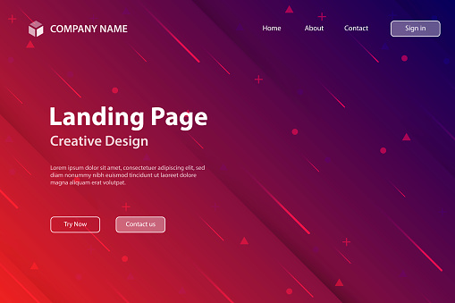 Landing page Template - Abstract design with geometric shapes - Trendy Red Gradient