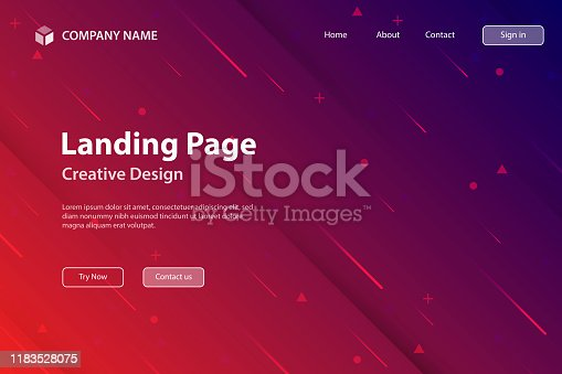 Landing page template for your website with a futuristic background, looking like a meteor shower. Modern and trendy abstract background with geometric shapes. This illustration can be used for your design, with space for your text (colors used: Red, Purple, Blue, Black). Vector Illustration (EPS10, well layered and grouped), wide format (3:2). Easy to edit, manipulate, resize or colorize.
