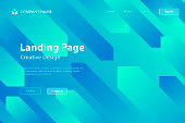 Landing page template for your website. Modern and trendy abstract background with geometric shapes. This illustration can be used for your design, with space for your text (colors used: Turquoise, Green, Blue). Vector Illustration (EPS10, well layered and grouped), wide format (3:2). Easy to edit, manipulate, resize or colorize.