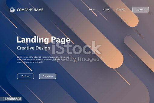 877787978istockphoto Landing page Template - Abstract design with geometric shapes - Trendy Gray Gradient 1186888805