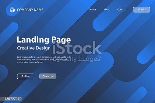 877787978istockphoto Landing page Template - Abstract design with geometric shapes - Trendy Blue Gradient 1189727272