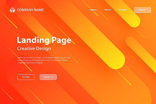 Landing page Template - Abstract design with geometric shapes - Trendy Orange Gradient