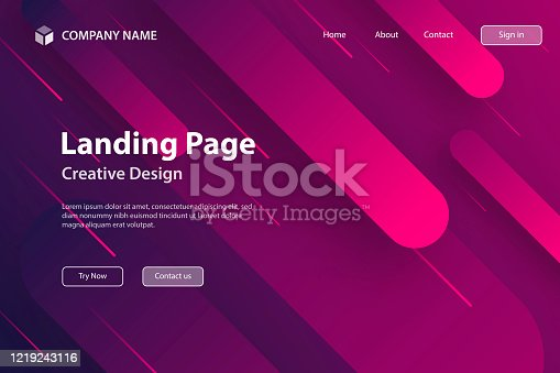 Landing page Template - Abstract design with geometric shapes - Trendy Pink Gradient