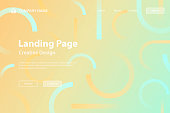 Landing page template for your website. Modern and trendy abstract background with geometric shapes. This illustration can be used for your design, with space for your text (colors used: Blue, Green, Beige, Yellow, Orange). Vector Illustration (EPS10, well layered and grouped), wide format (3:2). Easy to edit, manipulate, resize or colorize.