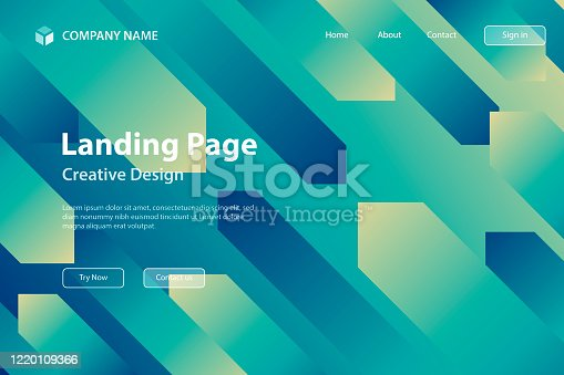 istock Landing page Template - Abstract design with geometric shapes - Trendy Blue Gradient 1220109366