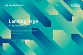 Landing page template for your website. Modern and trendy abstract background with geometric shapes. This illustration can be used for your design, with space for your text (colors used: Beige, Yellow, Green, Turquoise, Blue). Vector Illustration (EPS10, well layered and grouped), wide format (3:2). Easy to edit, manipulate, resize or colorize.