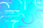istock Landing page Template - Abstract design with geometric shapes - Trendy Blue Gradient 1315593511