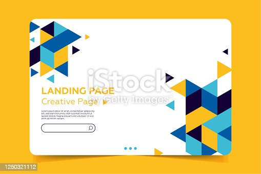 istock Landing page Template - Abstract design with geometric shapes 1250321112