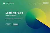 Landing page template for your website. Modern and trendy abstract background with a circle in a color gradient. This illustration can be used for your design, with space for your text (colors used: Yellow, Green, Blue). Vector Illustration (EPS10, well layered and grouped), wide format (3:2). Easy to edit, manipulate, resize or colorize.