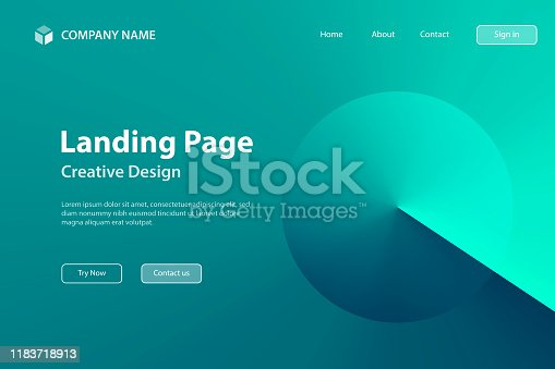 Landing page Template - Abstract design with Green gradient color - Trendy background