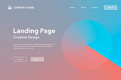 Landing page template for your website. Modern and trendy abstract background with a circle in a color gradient. This illustration can be used for your design, with space for your text (colors used: Blue, Pink, Orange, Red). Vector Illustration (EPS10, well layered and grouped), wide format (3:2). Easy to edit, manipulate, resize or colorize.
