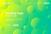 Landing page template for your website with a futuristic background, looking like the cosmos or microcosm. Modern and trendy abstract background with gradient circles. This template can be used for your design, with space for your text (colors used: Yellow, Green, Blue). Vector Illustration (EPS10, well layered and grouped), wide format (3:2). Easy to edit, manipulate, resize or colorize.