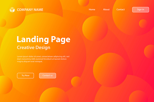 Landing page Template - Abstract geometric background with Orange gradient circles