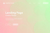 Landing page template for your website. Modern and trendy abstract background with gradient color cirlces, looking like targets. This illustration can be used for your design, with space for your text (colors used: Green, Gray, Beige, Yellow, Orange, Pink, Red). Vector Illustration (EPS10, well layered and grouped), wide format (3:2). Easy to edit, manipulate, resize or colorize.