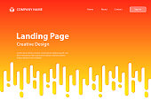 Landing page template for your website. Modern and trendy abstract background with rounded lines. A half-tone transition style and a color gradient are used to create this seamless background. This illustration can be used for your design, with space for your text (colors used: Yellow, Orange, Red). Vector Illustration (EPS10, well layered and grouped), wide format (3:2). Easy to edit, manipulate, resize or colorize.