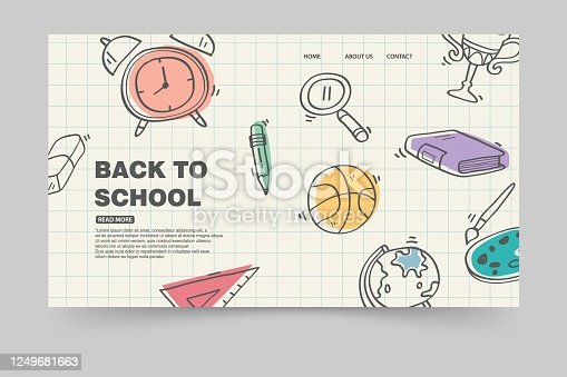 landing page template back to school, paper background