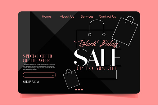 Landing page Template - Black friday shopping bag sale banner with geometric forms and pink background.Landing page Template - Black friday shopping bag sale banner with geometric forms and pink background.