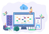 Landing page template. Cloud technologies. Small people share files over the Internet. Cloud service, online storage and data transfer, data backup.